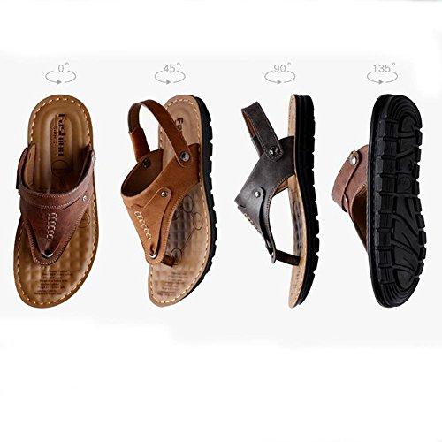 Herren Leder Sandalen angenehm zu tragen langlebig und rutschfest Sommer Mode Flip Flops 14503 grey