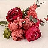 Jun7L Wohnaccessoires & Deko Kunstblumen 13 Köpfe künstliche Pfingstrose Seide Blume Blatt Home Hochzeit Party Dekoration Fake Blume Rot B 47CM