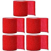 Healifty 5pcs 5x5cm Vendas Autoadhesivas Envoltura de Cinta Estiramiento Cinta de Primeros Auxilios elástica Fuerte atlética (Rojo)