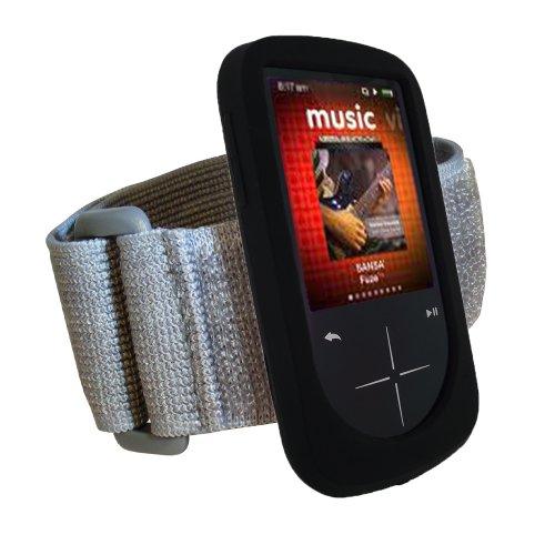 igadgitz Silikon Hülle Schutzhülle Tasche Etui Case in Schwarz mit Armband Oberarmtasche für Sport Jogging und Fitnessstudio für MP3-Players Sandisk Sansa Fuze (+) + Display Schutzfolie (Armband Mp3-player Sansa)