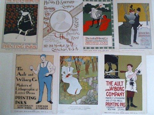 7 farbige Anzeigen-Beilagen aus 'The Inland Printer', Oktober 1897 - März 1898. Lithographien
