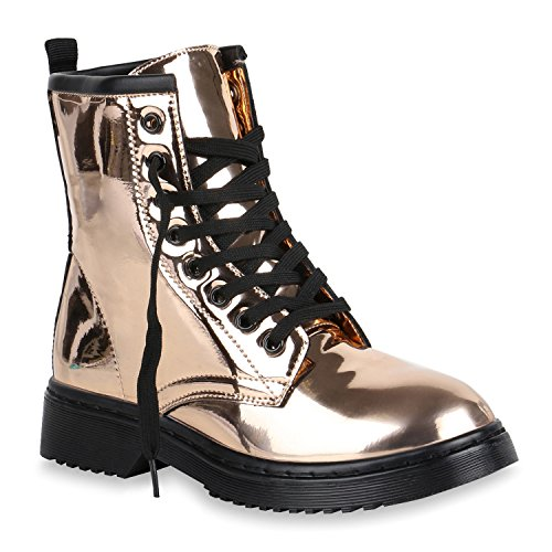Damen Schuhe Worker Boots Metallic Stiefeletten Lack Outdoor 151144 Rose Gold Lack 38 Flandell