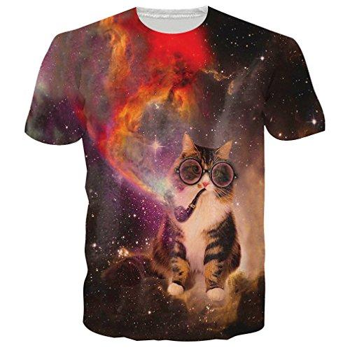 Chicolife Unisex-Galaxie-Raum-Katze druckte Hip Hop-Neuheit-T-Shirts T-Stücke