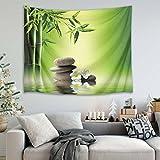 LB Feuilles de Bambou Vertes orchidées Pierres Grises Zen Image Impression Tapisserie Murale Pique-Nique Plage Drap de Table Nappe Accessoire Maison 200 Largeur x 150 Hauteur cm