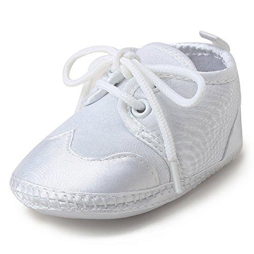DELEBAO Baby Taufe Schuhe Taufschuhe Babyschuhe Turnschuhe Krabbelschuhe Weiche Sohle Weiße Schnüren für Mädchen Junge Kleinkind (Schuhe-3,0-6 Monate)