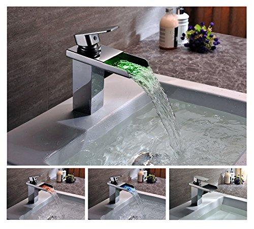 KINSE® Farbwechsel LED Verchromt Einhebelmischer Waschtischarmatur mit Temperatursensor Wasserhahn für Bad -