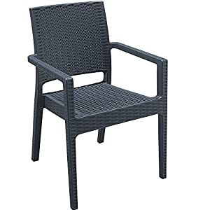 LeisureBench Madrid Rattan Style Reinforced Plastic Armchair - Dark Grey Outdoor Arm Chair Ideal For A Cafe, Bistro, Balcony or Patio