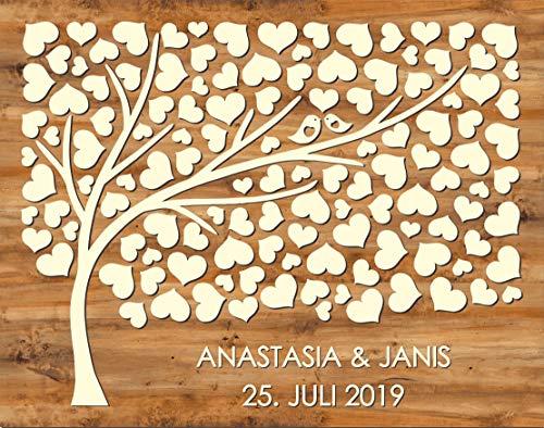 Manschin Laserdesign Personalisiertes 3D Gästebuch aus echtem Holz - Baum - Gästebuch Alternative - (Hintergrundfarbe Nussbaum Hell, 75 x 60 cm)