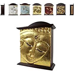 Hängeschrank Holz Buddha Blattgold Schrank Wandschrank Flurschrank cs. 65cm Braun Gold