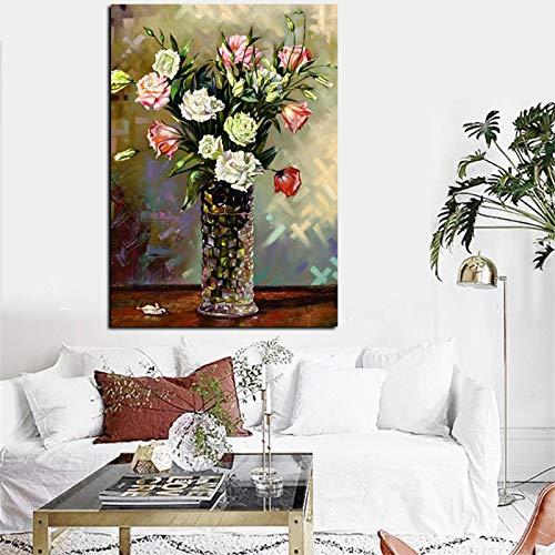 LiMengQi Moderne blumenvase abstrakte Kunst ölgemälde leinwand Wand modernes Bild für Wohnzimmer Dekoration (kein Rahmen) A3 60x90 cm -