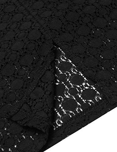 cooshional Donne profondo scollo a V mezza manica anteriore scava fuori indietro Spalato scollato sulla schiena Slim vestito Nero