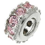Ring aus 925er Sterlingsilber, rund, Geburtsdatum Oktober, rosa Zirkonia, für europäische Charm-Armbänder