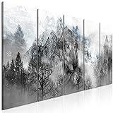 decomonkey | Bilder Wolf Wald Berge 200x80 cm | 5 Teilig | Leinwandbilder XXL | Bild auf Leinwand | Vlies | Wandbild | Kunstdruck | Wanddeko | Wand | Wohnzimmer | Wanddekoration | Deko | Tiere Landschaft grau