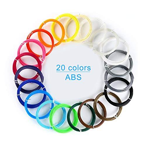 Penna 3D Filamento ABS - VICTORSTAR 20 Colori 200 Metri ( 656 Ft) 1.75mm Penna di Stampa 3D Filamento, 2 Bagliore nel Buio + 1 Legno di Colore + 5 Fluorescenti, 10 Petri (32.8ft) Ogni Colore