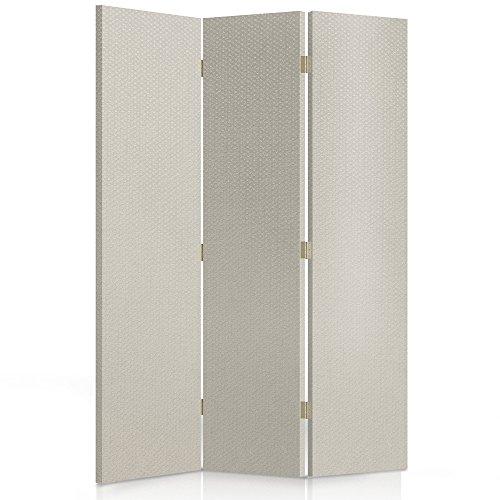 Feeby Frames, Los biombos de Tela, tabique Decorativo para Habitaciones, a Doble Cara, de 3 Piezas (110x150 cm), Tela, GLAMOROSO, Blanco