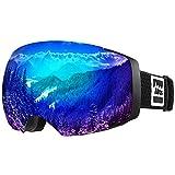 ALLROS Lunettes de Ski Masque de Snowboard OTG Cadeau Noël Anti-buée Anti-UV Lunettes de Protection Coupe-Vent à Double lentille Casque pour Homme et Femme