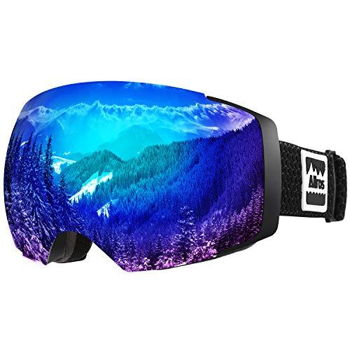 ALLROS Occhiali da Sci, Maschere da Sci Anti-Nebbia OTG Intercambiabile Lente Sferica a Doppio Strato Senza Telaio Occhiali da Veve