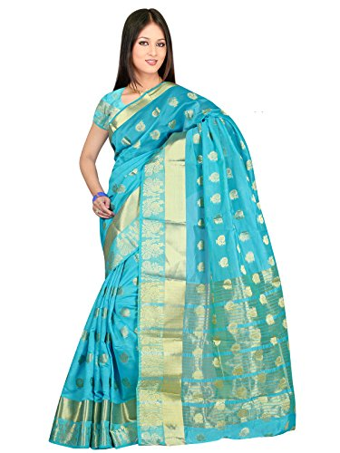 Indian Fashionista Cotton Silk Saree With Blouse Piece (Kanpeacockj_Blue_Free Size)