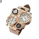 Armbanduhr, modisches Accessoire, Herren, schickes Doppel-Uhrwerk, Quarz, wasserdicht, mit Thermometer, Kompass, Armbanduhr
