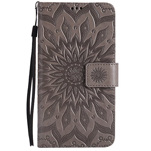Für Wiko Pulp Case, Embossing Sonnenblume Magnetic Pattern Premium Soft PU Leder Brieftasche Stand Case Cover mit Lanyard & Halter & Card Slots ( Color : Red ) Gray