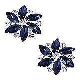 ElegantPark AJ Fashion Rhinestones Rose Flower Crystals Wedding Party Navy Blue