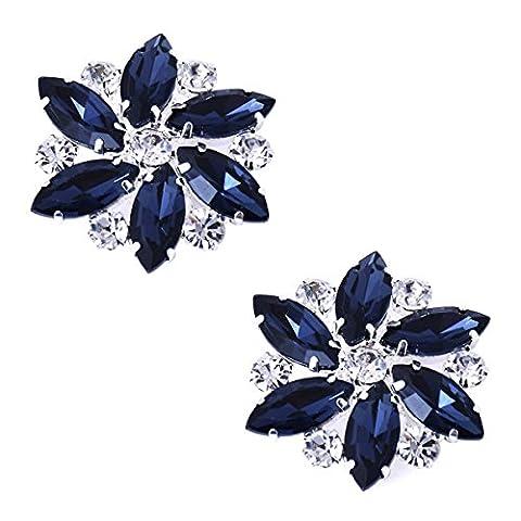 ElegantPark AJ Crystal Rhinestones Strass Fleur Amovible Accessoires Bijoux de chaussures 2 Pcs Bleu Marine