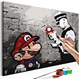 murando - Malen nach Zahlen Banksy Mario 60x40cm Malset DIY
