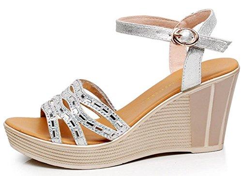 HYLM Sandali femminili nuova pendenza con sandali spessa scarpe basse / tacco alto in pelle / apertura punta femmina sandali di grandi dimensioni Silver