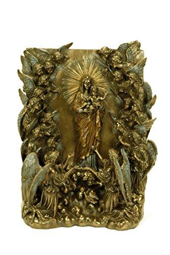"""Figura Decorativa Religiosa """" Retablo Virgen con Niño y Ángeles"""". 22 x 12 x 31 cm."""
