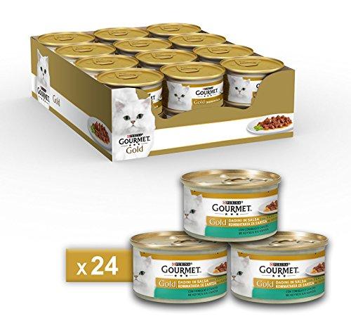 Purina Gourmet Gold Umido Gatto Dadini in Salsa con Coniglio e Carote, 24 Lattine da 85 g Ciascuna, Confezione da 24 x 85 g
