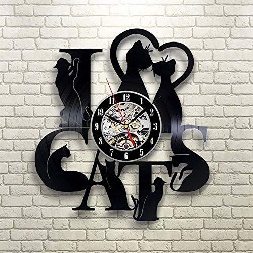VBLSJ Kreative 3D Led Wanduhr Vintage Schallplatte Uhr Schwarz Cd Katzen Form Uhr Große Wanduhren Wohnkultur Einzigartige Geschenke Keine Led
