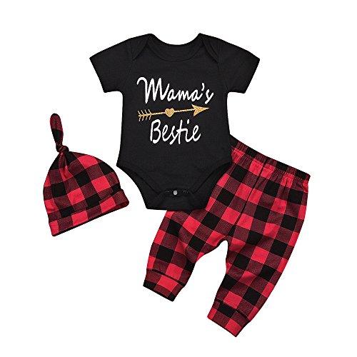 OVINEE 3 STÜCKE Neugeborenen Kleinkind Babyspielanzug Infant Girls Print Overall Kleidung Outfit Anzug Karierten Hosen Hut Outfit Set