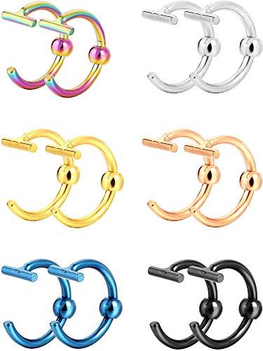 6 Paar Nicht Durchbohrte Ohrring Creolen Gefälschte Ohrstecker Manschetten Ringe Edelstahl Gefälschte Piercing Schmuck für Männer und Damen Knorpel Septum Piercing, 6 Farben (Nicht Durchbohrte Nase Ringe)