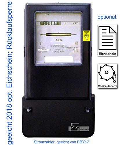Drehstromzähler 20(100)A neu geeicht (zugelassen) mit Eichschein (Zertifikat) und Rücklaufsperre (max. 69 kW))