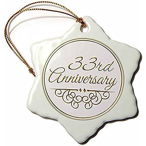 polpdid Home _ 154475_ 133E anniversaire Texte or cadeau pour fête mariage anniversaire 33ans Married Porcelaine Flocon de neige décoration, 7,6cm