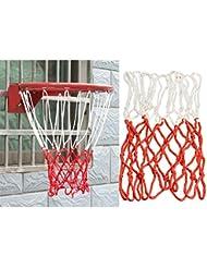 PURATEN 13 Loop Red de Baloncesto estándar Fuerte y Duradero de Fibra de Polipropileno Trenzado Blanco