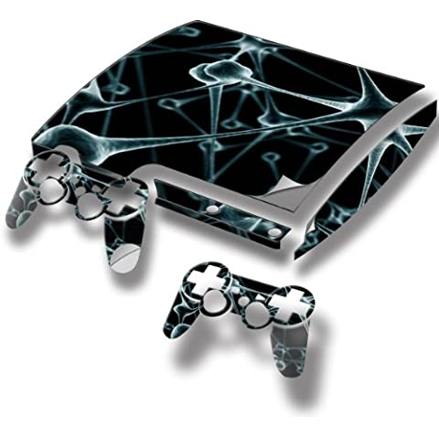 Abstract 10079, Frozen, Full Body Skin Sticker Decal Vinyl Wrap Cover Protector with Leather Effect Laminate and Colorful Design for PS3 Play Station 3 Slim Game Console and 2 Controllers., [Importado de Reino