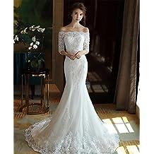 29011a0e55fe LUCKY-U Donna Vestito da Sposa Sirena Lungo Vestiti da Sera Banchetto della  Sposa Elegante