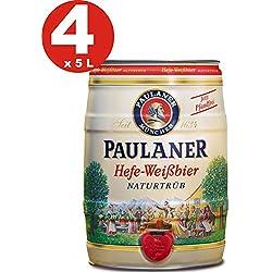 4 x Paulaner Hefe-Weissbier naturtrüb cerveza de trigo 5,5% vol cerveza barril 5 litros