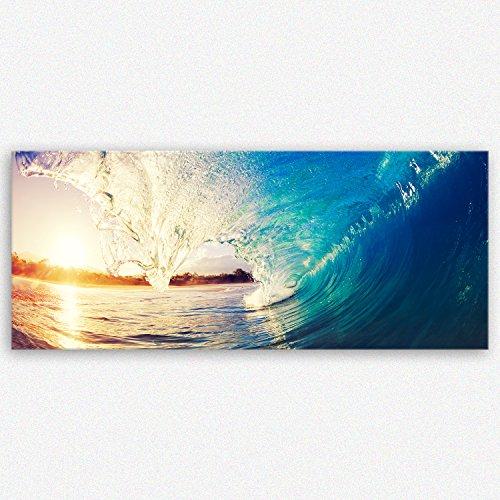 ge Bildet® hochwertiges Leinwandbild Panorama Panorama XXL Naturbilder Landschaftsbilder - the Wave - Welle Surfen Wasser Sonnenuntergang blau gelb orange - 120 x 50 cm einteilig | Wanddeko Wandbild Wandbilder Wohnzimmer deko Bild | 2213 S (Surfen Schlafzimmer)