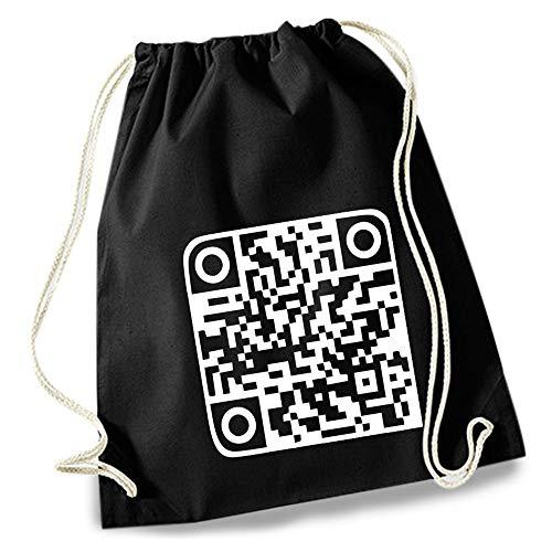 HAPPY FREAKS Turnbeutel/Stoff-Rucksack \'QR-Code\' - Unisex-Rucksack für Konzert, Schule, Freizeit und Einkauf