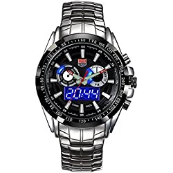 TVG Herren-Luminox Linsenteleskop (Wasserdicht Quarz Sportuhr 100 m LED Doppel Display Luminous watch-black Zifferblatt