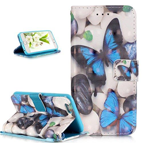 Coque iPhone 6S Plus,Coque iPhone 6 Plus,ikasus® Coque iPhone 6S Plus / 6 Plus Bookstyle Étui Housse en Cuir Case,Modèle de Peinture colorée peint fleurs papillon printemps série Etui Housse Cuir PU P Papillon bleu