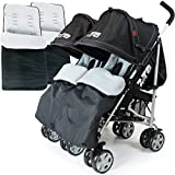 ZETA VOOOM Twin Double Stroller - Black (+ x2 Footmuffs)