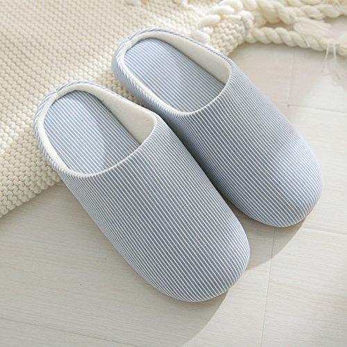 DogHaccd pantofole,Il cotone pantofole donna autunno inverno le coppie soggiorno home, pavimento in legno antiscivolo, disattivato semplici scarpe caldo Blu chiaro1