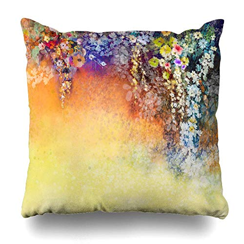 ONewteecap Throw Pillow Cover Painting Abstract Floral Watercolor Hand White Yellow Red Flowers in Color On Blue Green Ivy Tree Decor Zippered Cushion Case 16