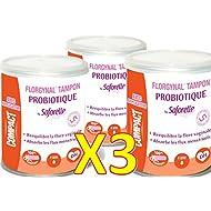 "Saforelle–florgynal–Tampón probiotique–con aplicador–Mini–Tabla Periódica recinto de 9""Mini–Lote de 3cajas M"
