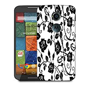 Snoogg Black Roses Leaves Designer Protective Phone Back Case Cover For Moto X 2nd Generation