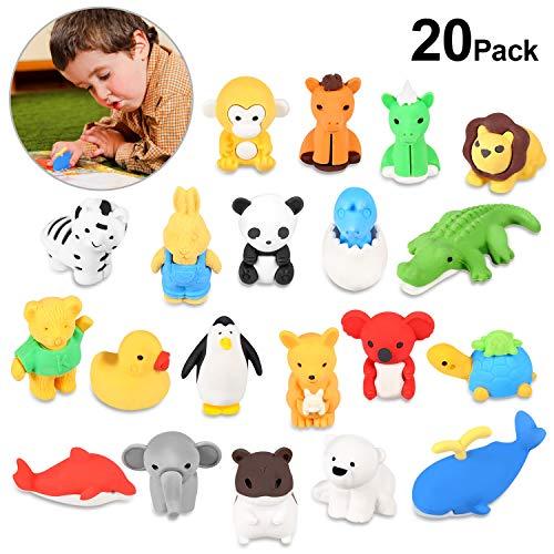 Rymall 20 pcs gomme a forma di animali, gomme da cancellare animali rimovibile piccola giocattoli per bambini, le scuole, gli studenti, la scuola cancelleria il giocattolo creativo