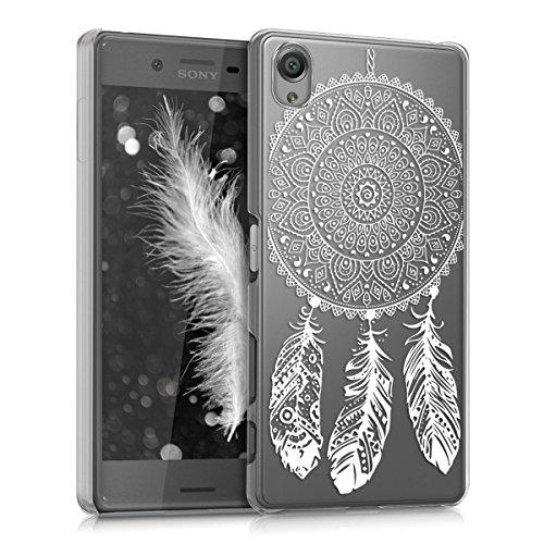 kwmobile Crystal Case Hülle für Sony Xperia X mit Traumfänger Design - transparente Schutzhülle Cover klar in Weiß Transparent
